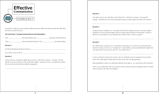 Brandable Worksheets Effective Communication Worksheet PLR Me