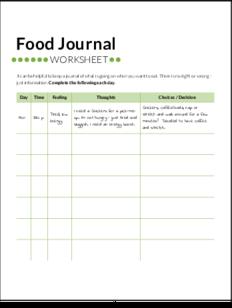 food journal worksheet
