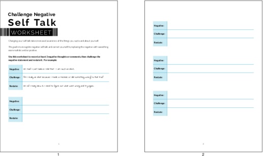 Private Label Worksheets Challenge Negative Self Talk Worksheet