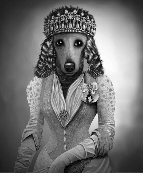 dog wearing victorian clothes