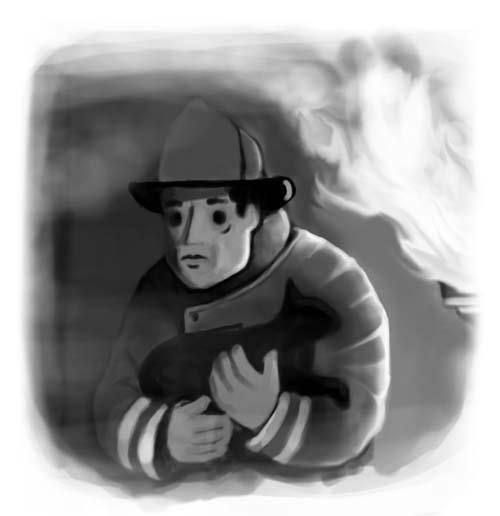 fireman rescuing cat