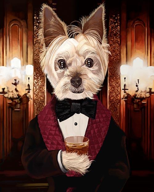 smoking jacket dog outfit whisky