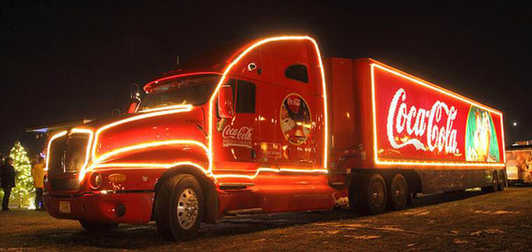 the coca cola christmas caravan on - Coca Cola Christmas Commercial