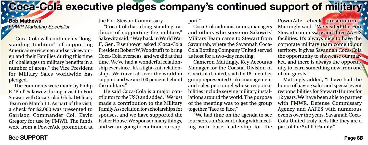 Coca-Cola Executive Pledges Companys Continue Support of Military