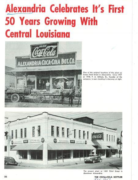Alexandria Coca-Cola Historical Documents Article p1 cocacolaunited com