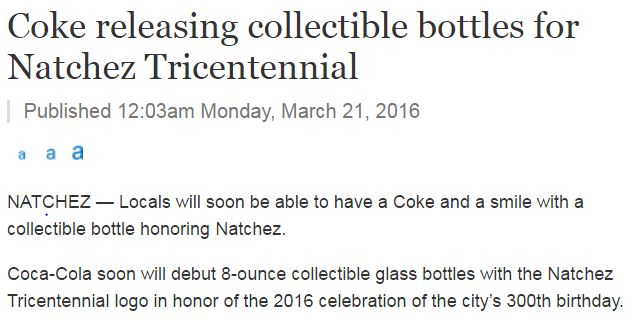 Natchez, Commemorative, Collectible, Bottle, Tricentennial