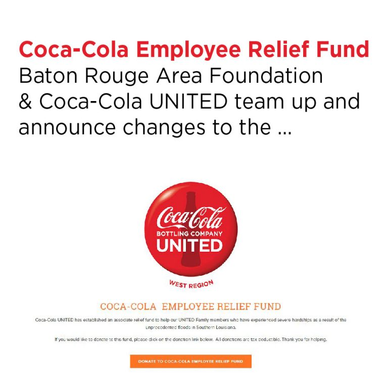 Coca-Cola UNITED, UNITED West Region, Employee Relief Fund, BRAF, Baton Rouge Area Foundation, southern Louisiana, Donate