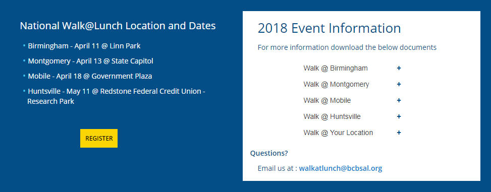 Register, National Walk at Lunch, Birmingham, Alabama,BlueCrossBlueShield, LinnPark, Dasani water, 2018, Coke Zero Sugar, Alabama Beverage Association, City of Birmingham, Diet Coke