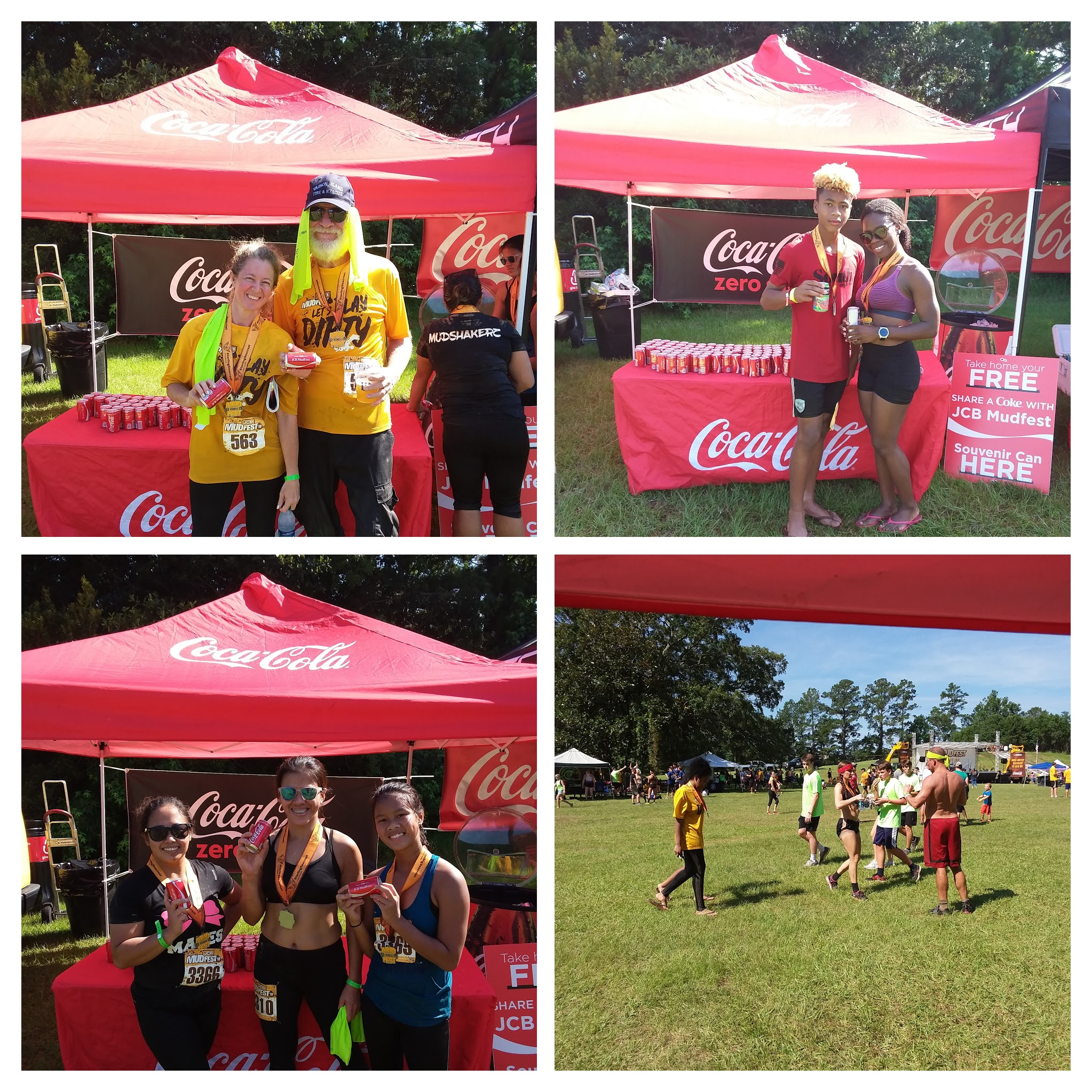 Runners enjoying Coca-Cola products post-race