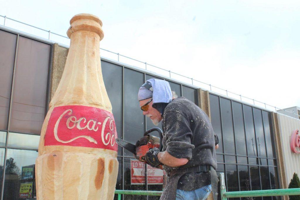 arietta-Coca-Cola, hand-carved wood iconic Coca-Cola Bottle, Brian Ruth, MDJ