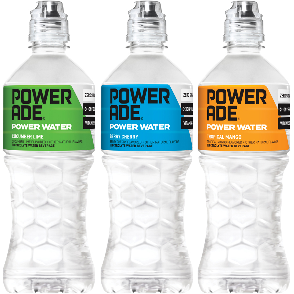 POWERADE power water picture with cucumber lime, berry cherry and tropical mango