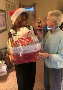 Presenting Joyce with basket
