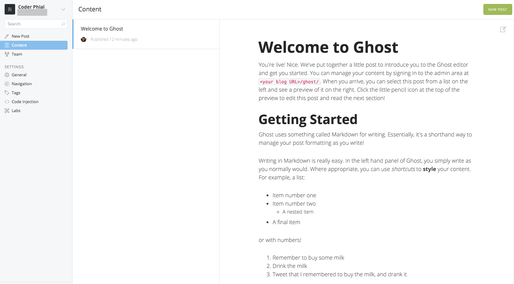 Getting Ghost Running on Github (with Buster)