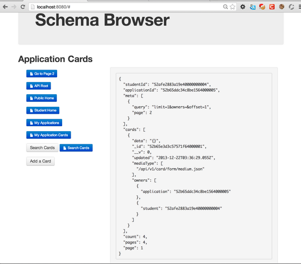 An example screenshot of my early Hypermedia client app