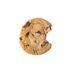 a chocolate chip cookie with one bite missing