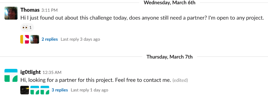 Finding partners on the CLL slack channel