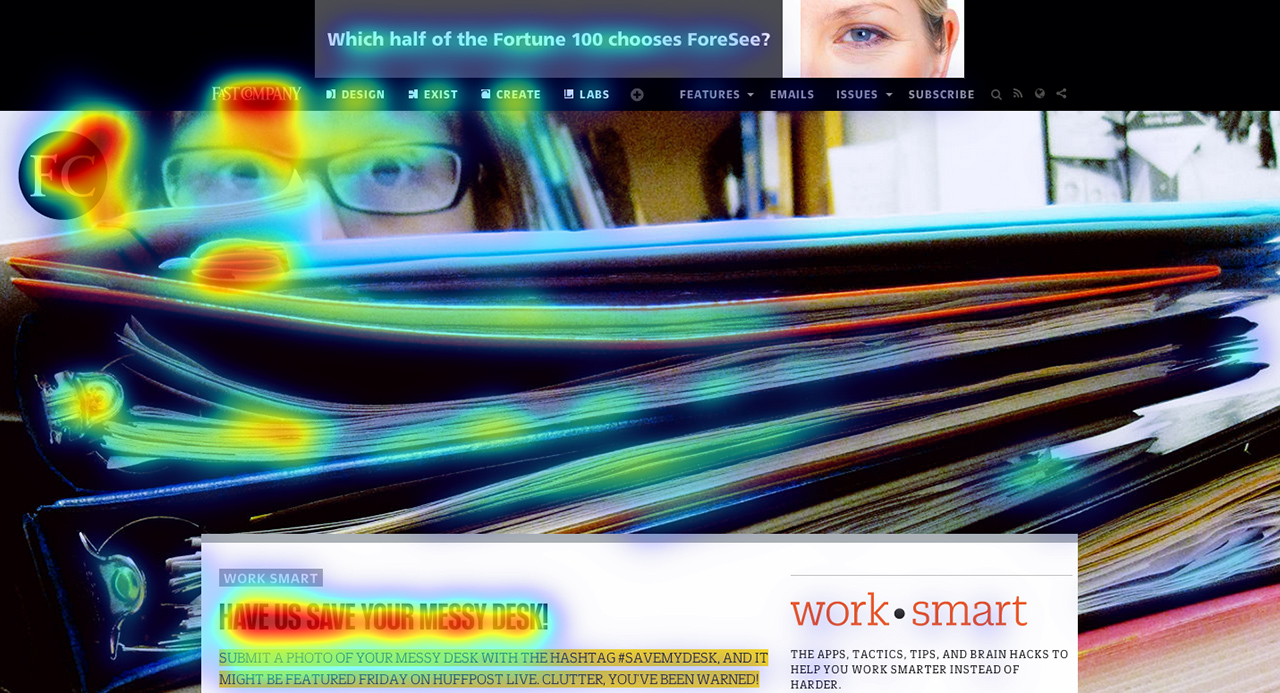 image of eye tracking on the homepage of fastcompany.com
