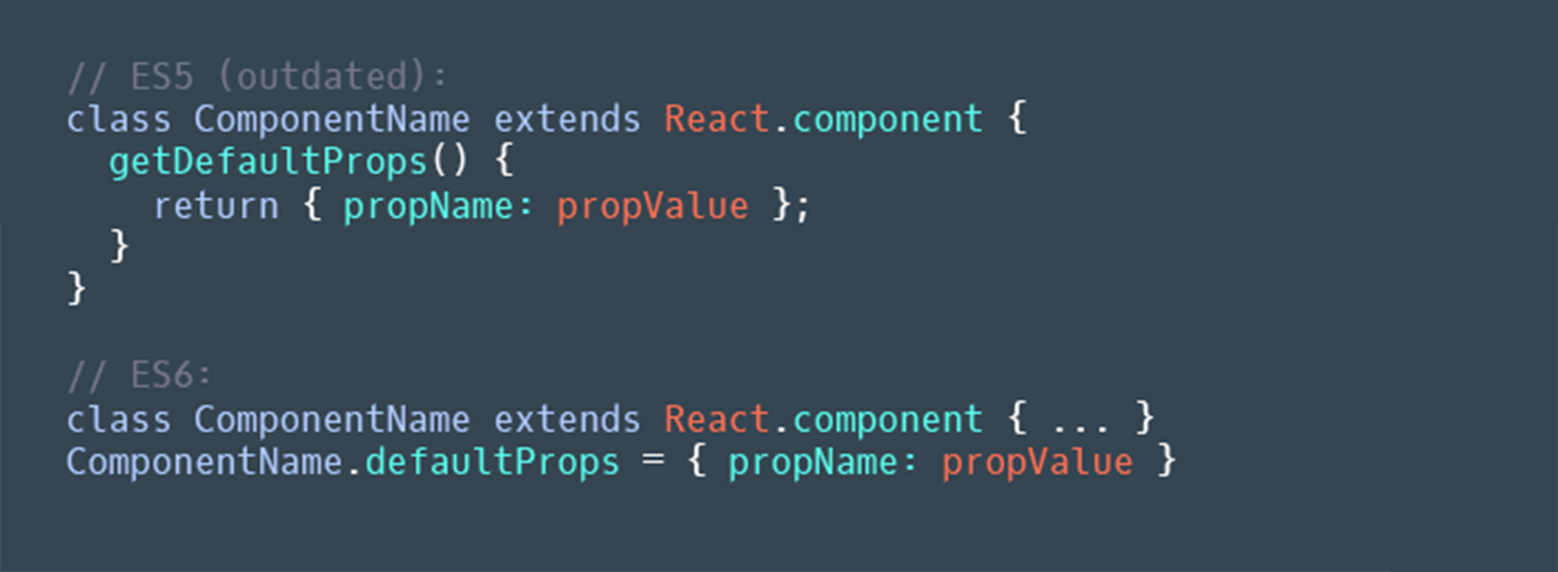`getDefaultProps()` should be replaced with static `defaultProps` object property