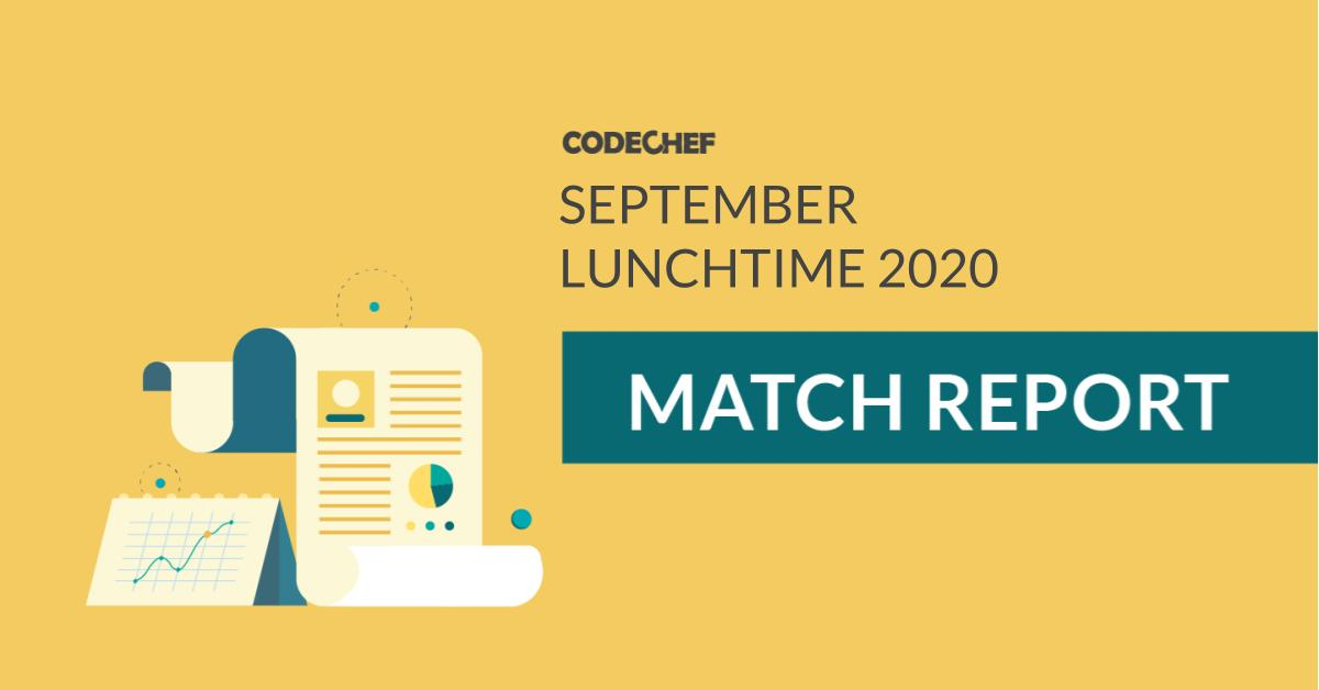 CodeChef September LunchTime | Tourist On A Hat Trick!