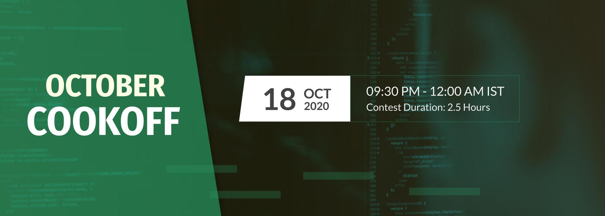 The CodeChef October Cook Challenge.