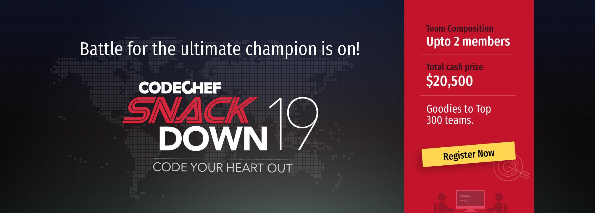 Register Now for SnackDown 2019