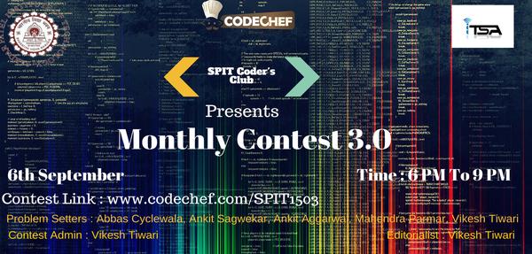 SPIT Coder's Club Monthly Contest 3 0 | CodeChef