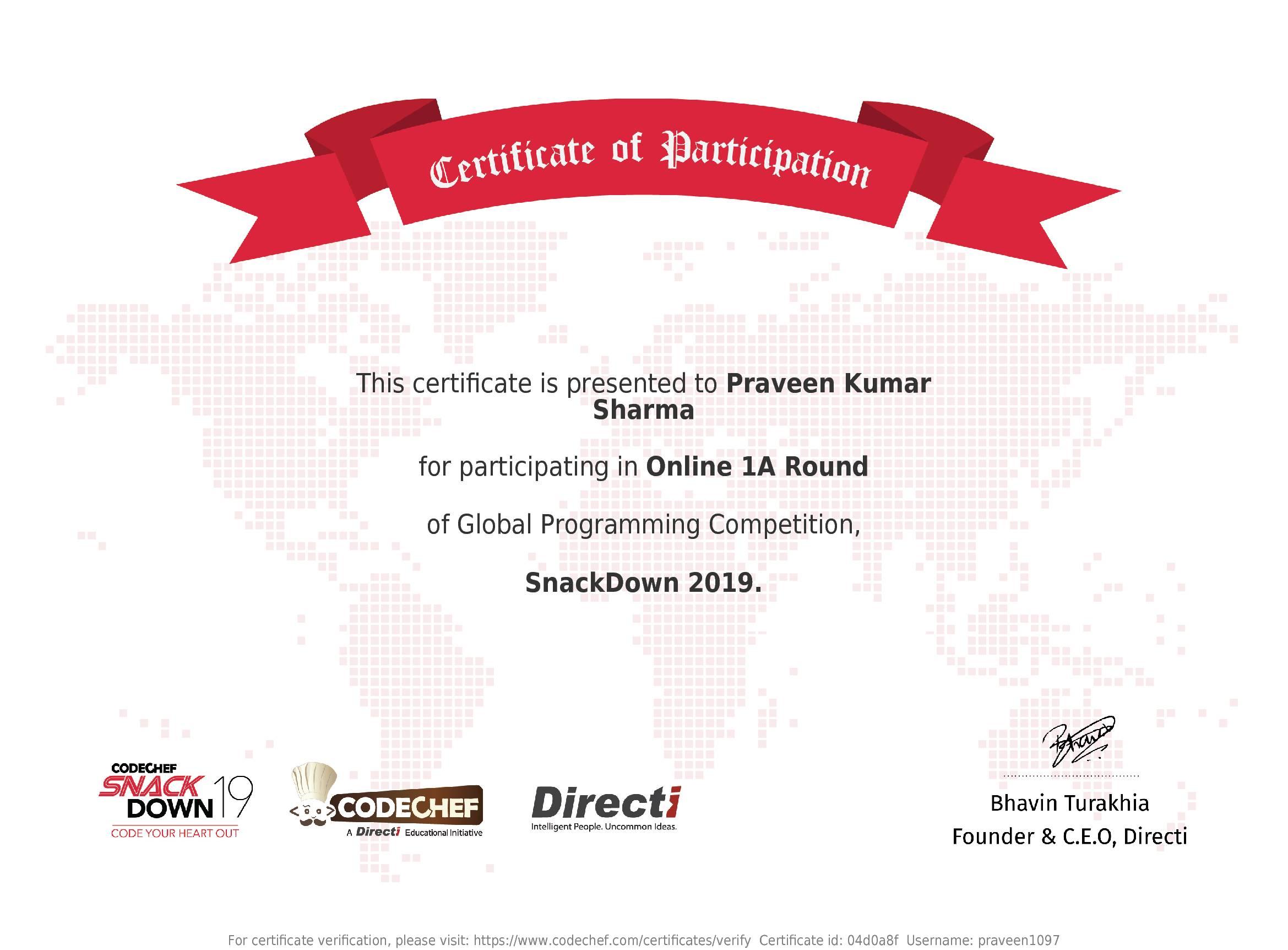 Awarded to Praveen Kumar Sharma