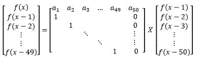 Matrix Exponentiation 50x50