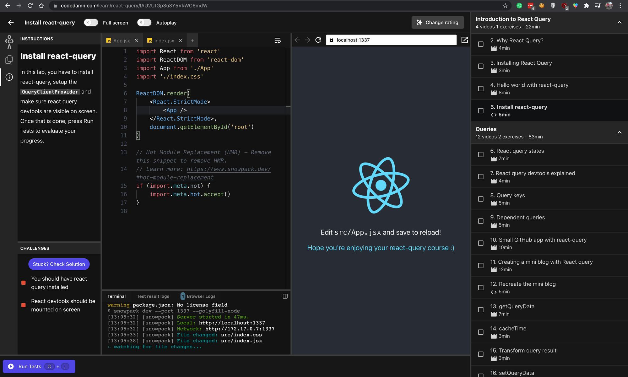 Interactive lab inside react-query course
