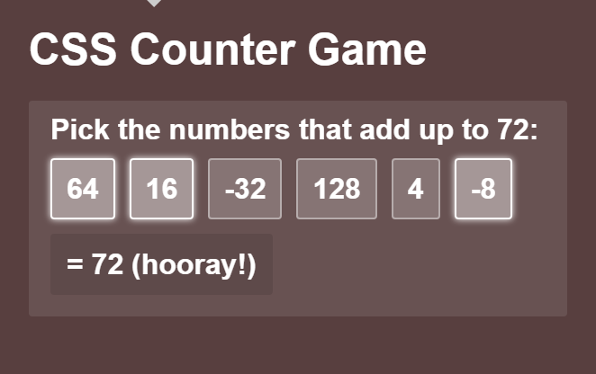In this blog post, Fun Times with CSS Counters, Will shows off some pretty crazy tricks with counters, e.g. a pagination, a counter for items with ...