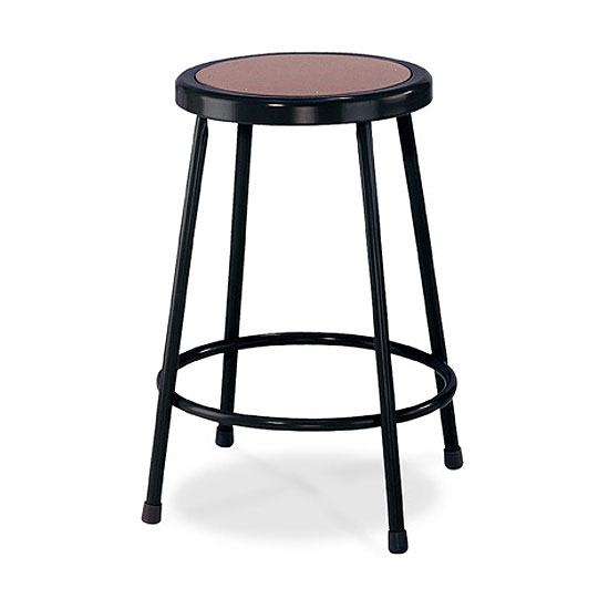 Black Stool with Round Hardboard Seat