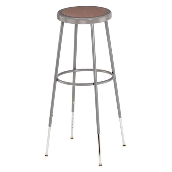 Gray Stool with Round Hardboard Seat