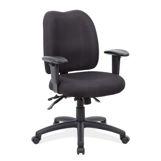 OfficeSource Advanced Collection Multi-Function Task Chair with Adjustable Arms and Black Frame