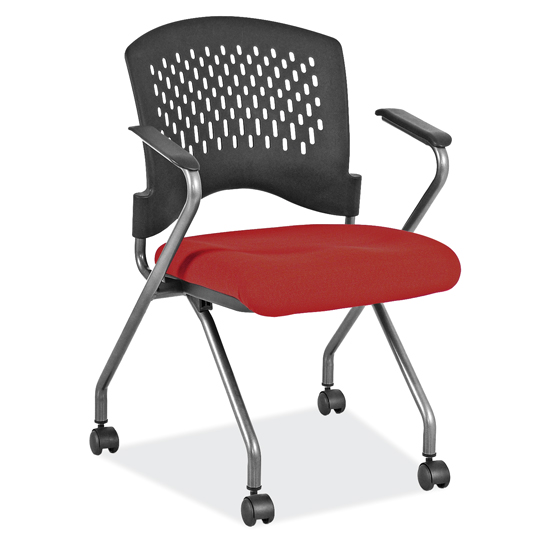 Nesting Chair With Arms And Casters U2013 Titanium Gray Frame