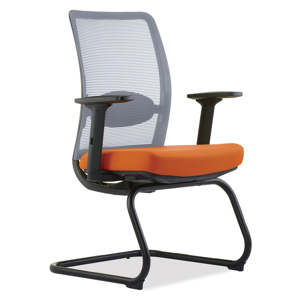 OfficeSource Agile Collection Gray Mesh Guest Chair with Black Cantilever Base
