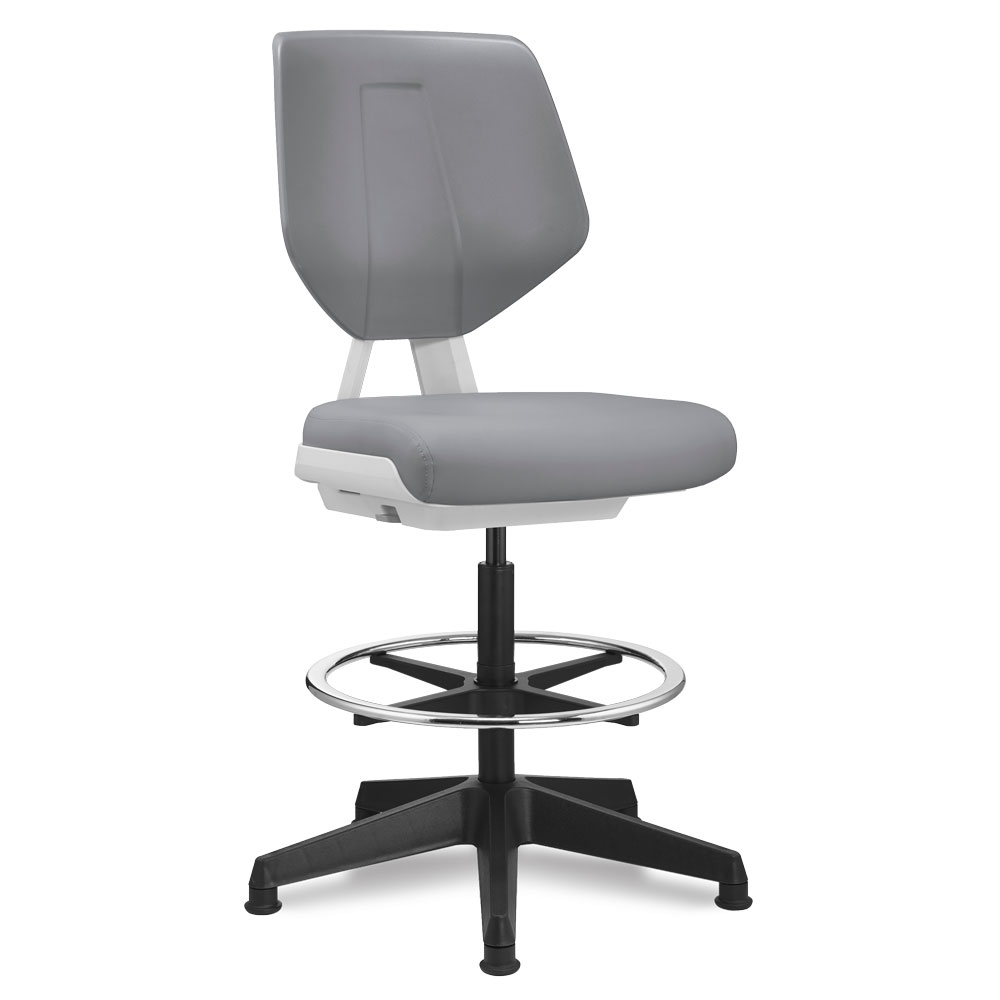 OfficeSource Alabaster Collection Armless Task Stool with Footring