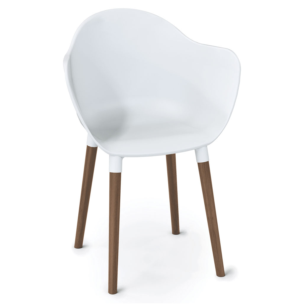 OfficeSource Allure Collection Plastic Bucket Chair with Light Wood Legs