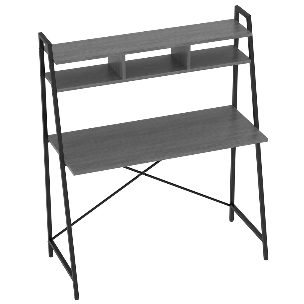 OfficeSource Any Space WFH Collection Metal Frame Desk with Two Shelves and Black Frame – 42″H x 24″D