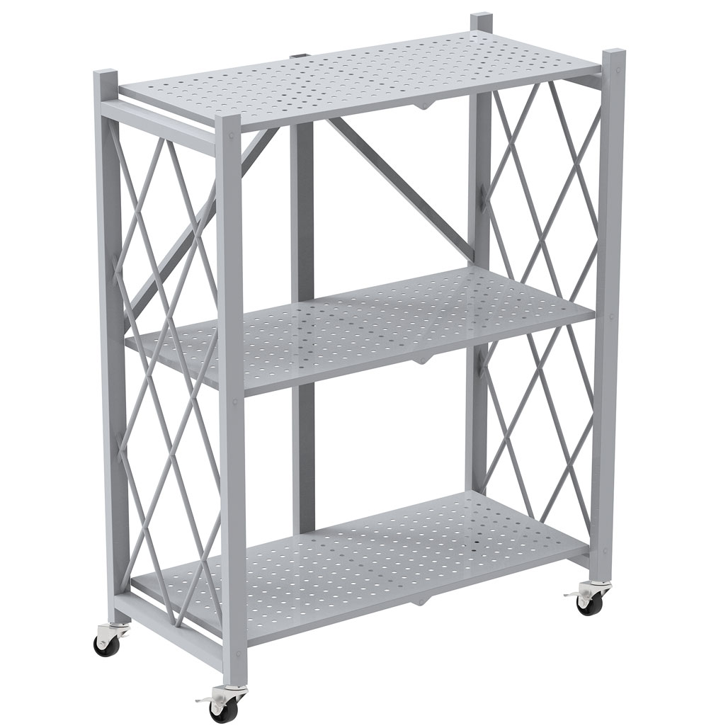 OfficeSource Any Space WFH Collection Folding Metal Bookcase with 3 Shelves and Casters – 44″H