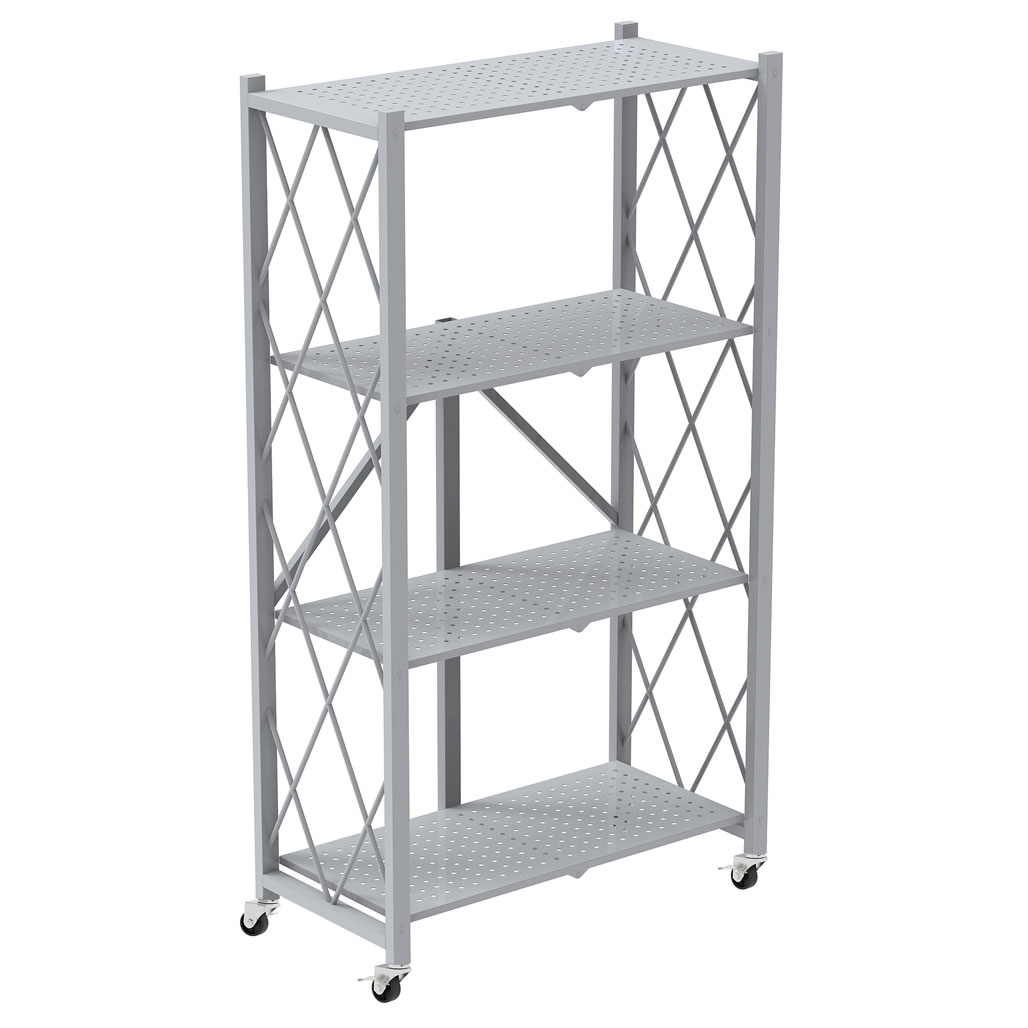 OfficeSource Any Space WFH Collection Folding Metal Bookcase with 4 Shelves and Casters – 50″H