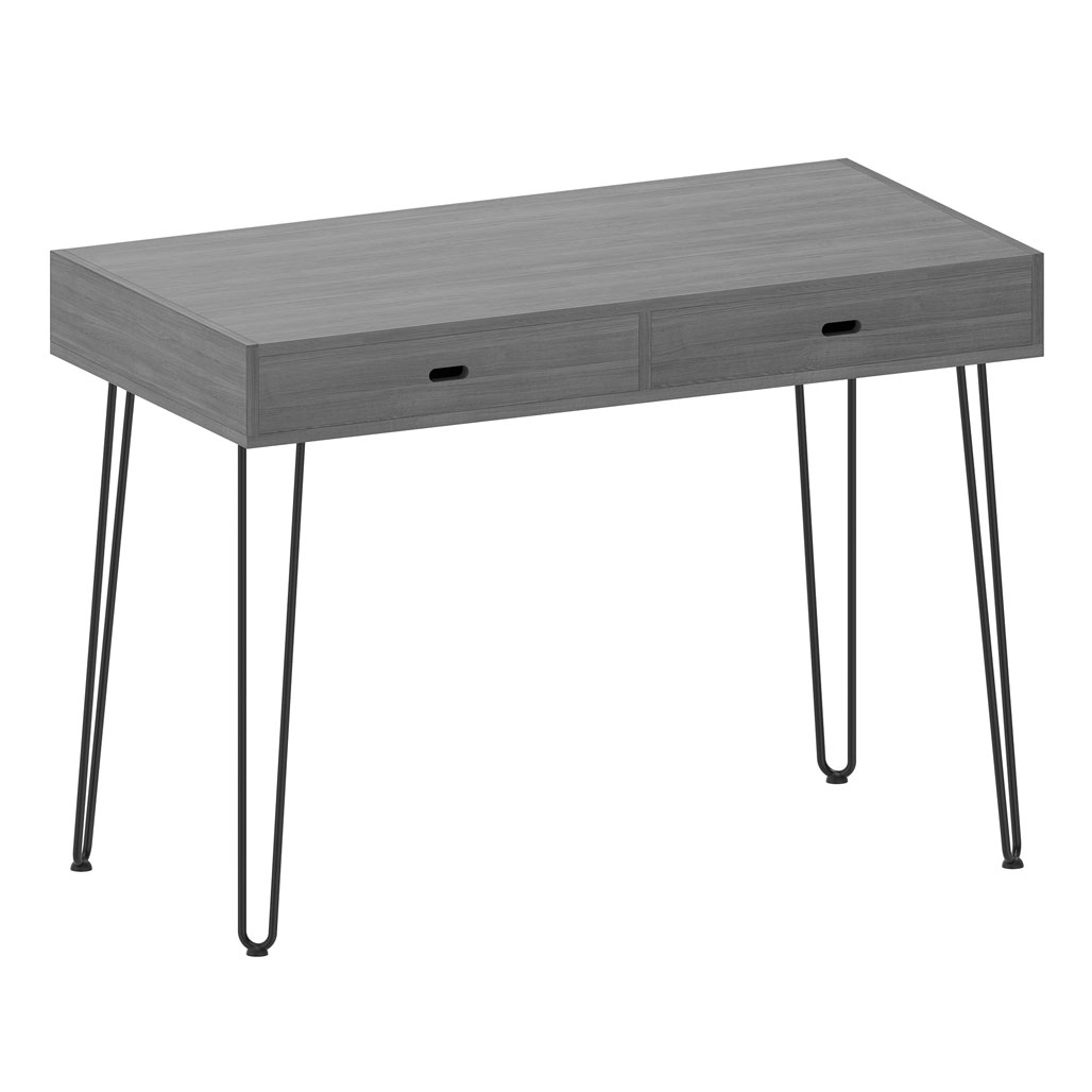 OfficeSource Any Space WFH Collection Writing Desk with Two Drawers and Black Hairpin Legs – 48″W x 24″D x 30″H