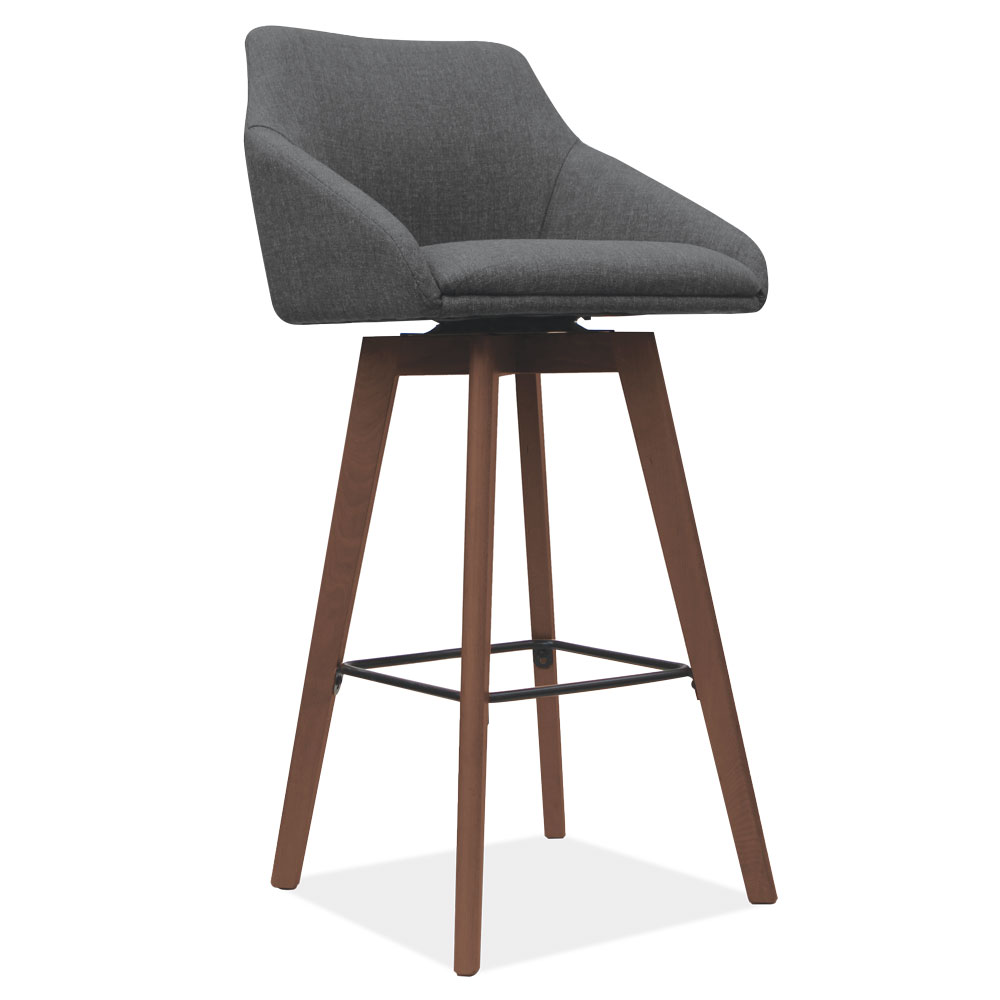 Swivel Stool with Brown Wood Legs