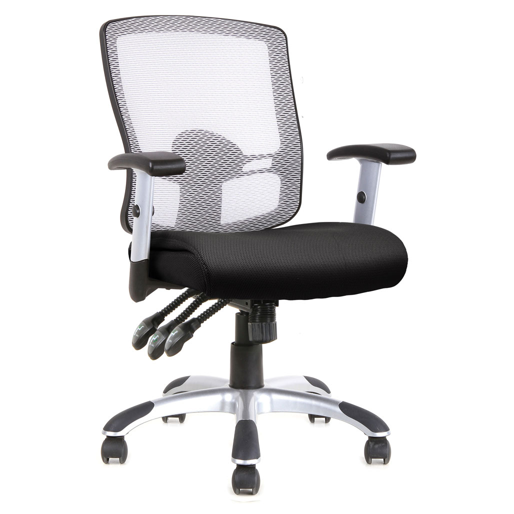 OfficeSource Artesa Collection Mesh, 3 Paddle Task Chair with Chrome Base and Arms