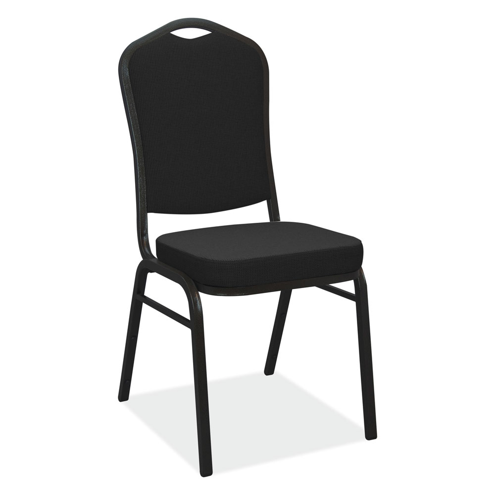 High Back Stacking Banquet Chair With Black Metal Frame