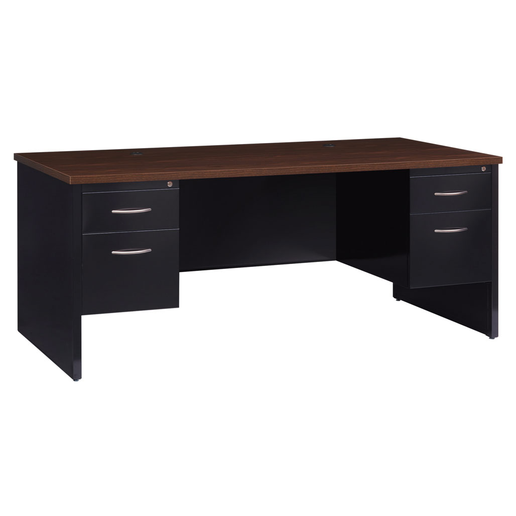 OfficeSource Bedford Collection Double Pedestal Modular Desk – 72″W x 36″D