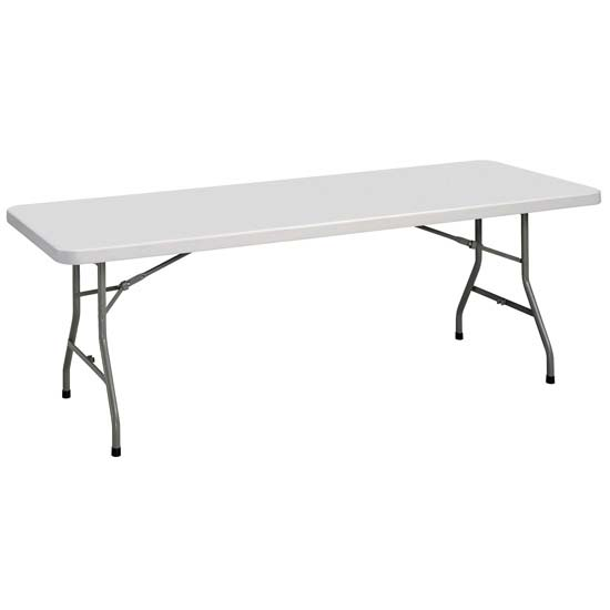 OfficeSource Blow Molded Folding Tables Rectangular Plastic Blow-Molded Folding Table