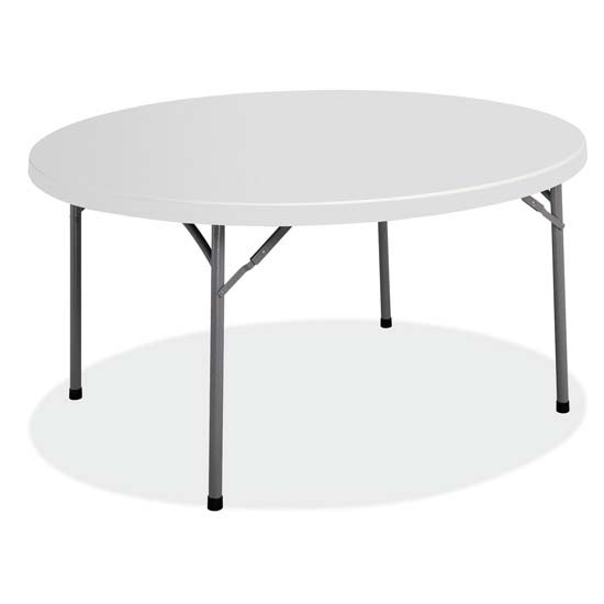 OfficeSource Blow Molded Folding Tables Round Plastic Blow-Molded Folding Table