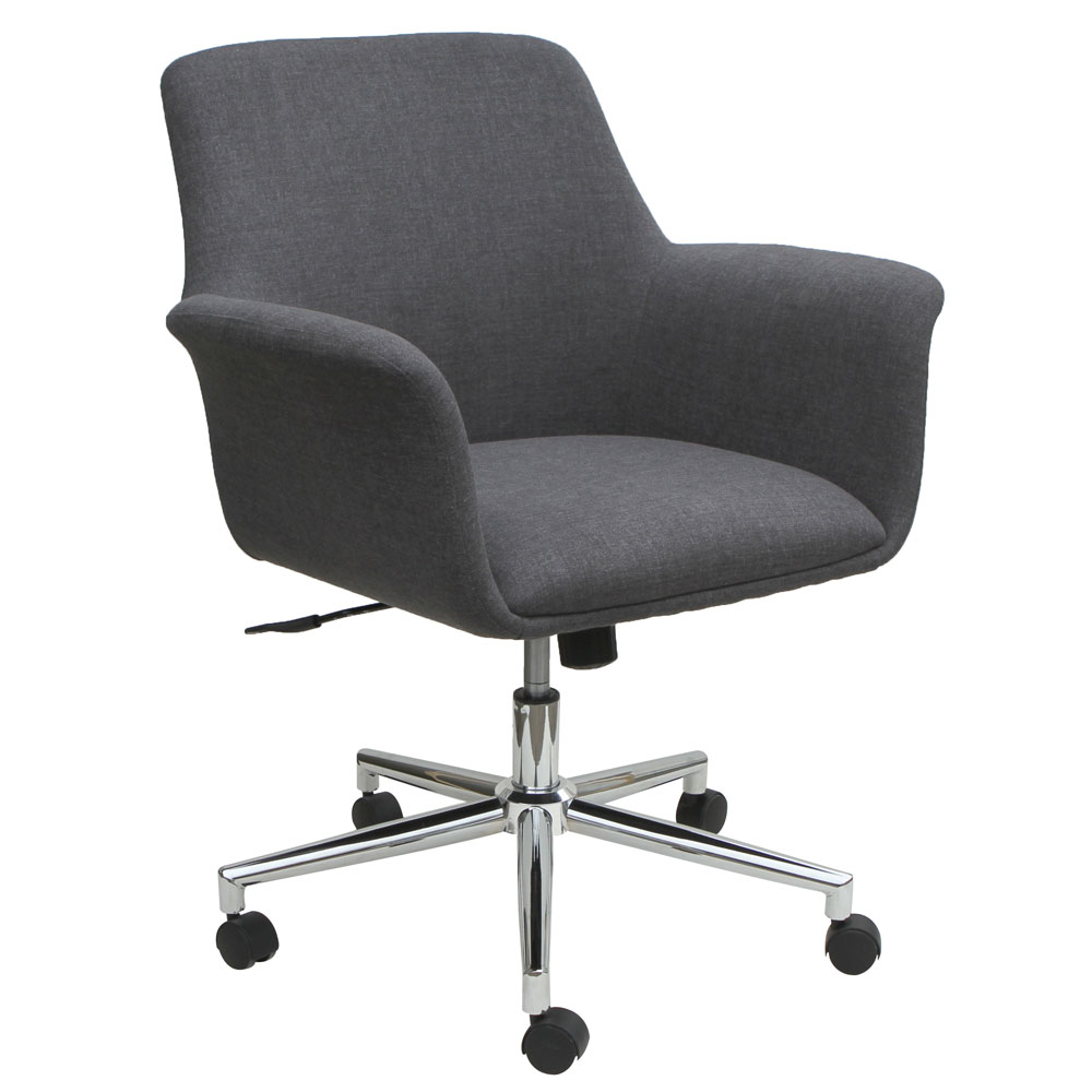 Mid Back Swivel Chair With 5 Star Chrome Base