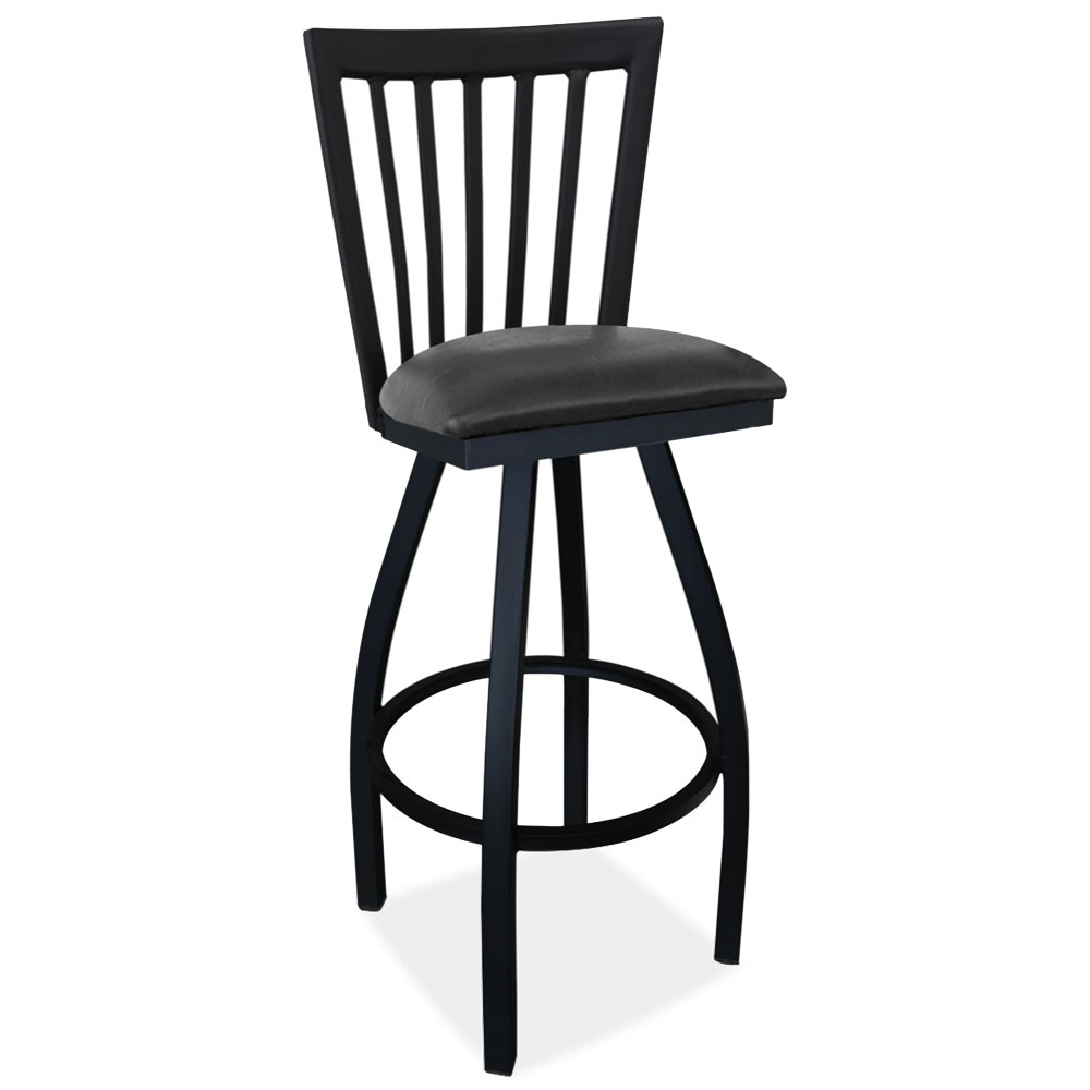 OfficeSource Bowed Collection Cafe Height High Back Wood Chair with Cushioned Seat and Black Frame