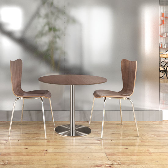 Wood Stack Chair with Chrome Base